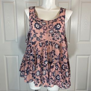 Torrid Floral Chiffon Side Lace Up Tank Size 00